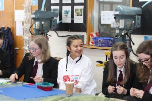 Year 9 girls at Rastrick High School enjoying a STEM lesson delivered by DePuy Synthes