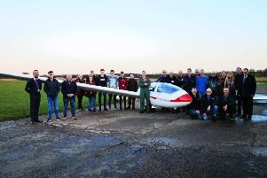 Red 4 pictured with students, Trent Valley Gliding Club members and gliding instructors, representatives from North Lindsey College FE/HE University Centre, FORCE and the British Gliding Association.