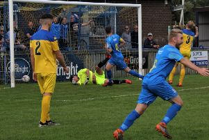 Captain James Crorken scores the winner for Town''PICTURES: Peter Naylor