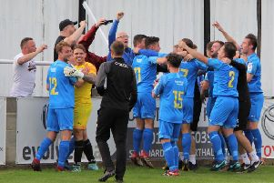 Town's players celebrate with the fans at the final whistle''PICTURES: Peter Naylor