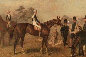 Kettledrum ridden by its jockey, Ralph Bullock. Col. Towneley is on the right, wearing the light-coloured coat.