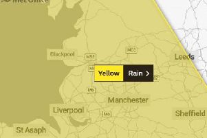 The yellow weather warning covers the whole of Lancashire
