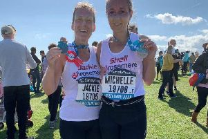 Jackie Brunton and Michelle Livesey, of Preston, who completed the Great North Run for Rosemere Cancer Foundation
