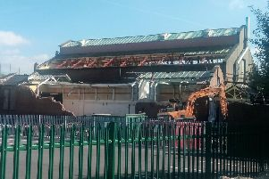 The former Gannow Baths is being knocked down