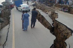 The earthquake literally ripped up roads