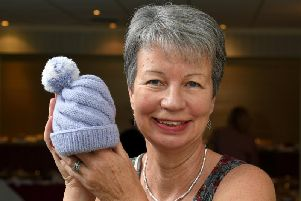 Helen Roberts won first prize in the charity class with this knitted baby hat