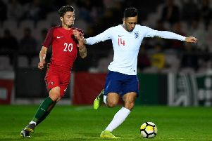 Dwight McNeil takes on Nuno Santos as England Under 20s take on Portugal