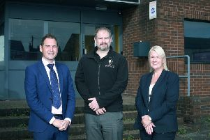 GC Business Finance senior loan manager Simon Truby, Evolve Military College managing director Andrew Emmett and British Business Bank senior manager North West Sue Barnard