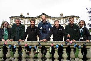 Members of the East Riding team at Sewerby Hall, with RSPB Bempton Cliffs site manager Dave OHara, get ready to put up Birdsong Takeover bunting.