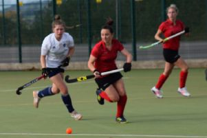 Pendle Forest's Lisa Crewe comes away with the ball.