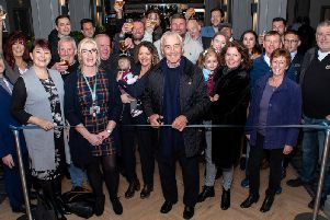 Former Burnley manager Stan Ternent performs the honours of cutting the ribbon at the re-opening of The Brun Lea pub in Burnley.