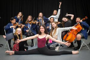 Some of the students who took part in the Performer of the Year night at Burnley's Blessed Trinity RC College. (Photo by Andy Ford)