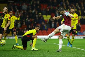 James Tarkowski fires home from Ashley Westwoods free kick at Watford