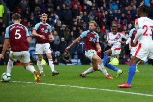 Wilfried Zaha drills in Crystal Palaces third goal at Turf Moor last season