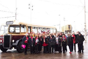 Members of Padiham Community Choir arrive at Blackpool Tower for their debut performance in the legendary ballroom.