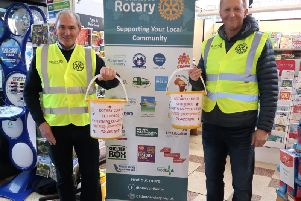 Rotarians Phil Naylor (left) Ian Hardy (right) at Booths.