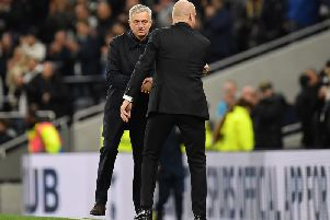 Sean Dyche and Jose Mourinho shake hands ahead of the Premier League fixture at the Tottenham Hotspur Stadium