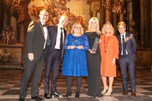 (Left to right) The Birchall team  Justin Birchall, Krissy Fremont, Hayley Spear and Louise Birchall  with (far left) Martin Ward, trading director, Country Range Group, and (far right) Josh Widdicombe