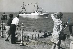 Jacinta arrives in Fleetwood after a trip to the Icelandic fishing grounds in July 1972