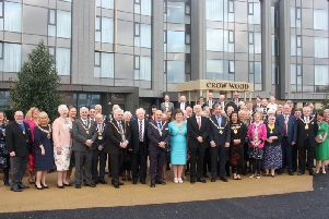 The civic guests outside the Crow Wood Hotel