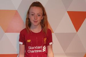 Maddy Duffy in her Liverpool FC kit