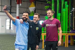 Clarets striker Jay Rodriguez (right) poses for a selfie