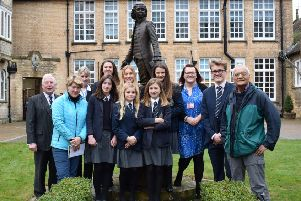 Broadcaster Clare Balding (second left) poses with Pocklington School pupils during her visit.