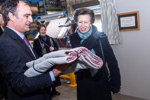 The Princess Royal at John Spencer Textiles. Pic: Andy Ford