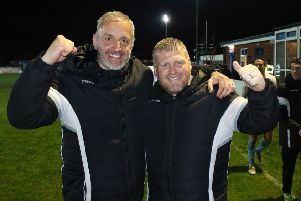 Lee Picton and Graham Fenton celebrate last night. Picture by Peter Talbot.
