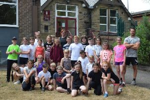 The pupils from St Leonard's Primary School in Padiham after completing the Couch to 5k challenge.