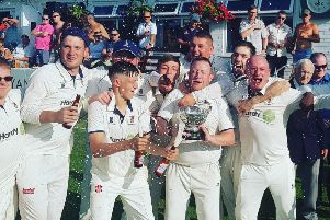 Padiham celebrate winning the Ramsbottom Cup