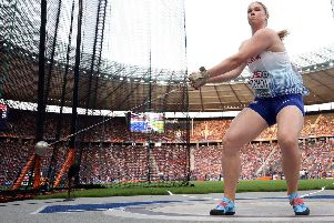 Great Britain's Sophie Hitchon during the women's Hammer Throw Final during day six of the 2018 European Athletics Championships at the Olympic Stadium, Berlin. PRESS ASSOCIATION Photo. Picture date: Sunday August 12, 2018. See PA story ATHLETICS European. Photo credit should read: Martin Rickett/PA Wire. RESTRICTIONS: Editorial use only, no commercial use without prior permission