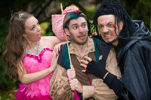 Laura DArcy as Fairy Bowbells; Tim Roberts as Dick Whittington; and EastEnders Mark Homer as King Rat. Photo by Jon Keeling for PMA Productions Ltd(s)