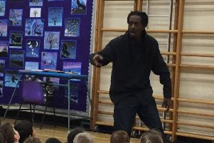 Poet Rappaman in action at Earby Springfield Primary School.