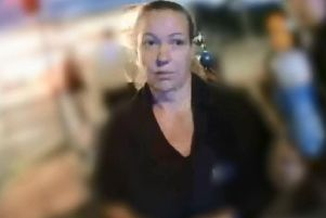 Julie Wass captured on a police officer's bodycam as she told them Kettlewell had killed Kelly Franklin. Pic: Cleveland Police.