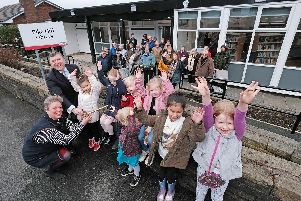 There were cheers all round from Pike Hill residents as their library was re-opened by county councillors Cosima Towneley and Peter Buckley,cabinet member for community and cultural services.