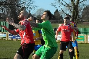 Joint Padiham boss Adam Morning in action during his playing days for Colne FC