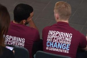 Burnley FC players Aaron Lennon (left) and Ben Mee at the BFCitC launch event.