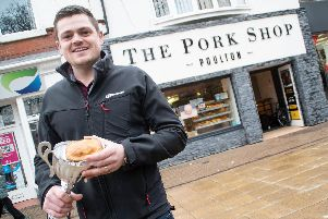 Jack Gardner, co-owner of The Pork Shop in Poulton with the award winning steak and onion pie.