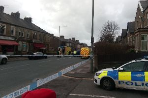 The scene of the incident in Burnley this afternoon
