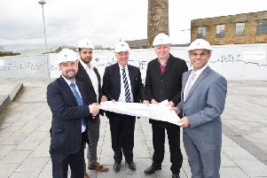 (Left to right) Michael Ahern, UCLan chief operating officer, Coun. Asif Raja, Burnley Council executive member for economy and growth, Tim Webber, chairman and managing director Barnfield Construction, Coun. Mark Townsend, Burnley Council leader and Ebrahim Adia, UCLan provost.