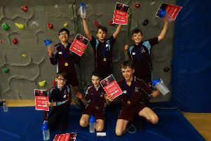 The victorious team from Unity College who will represent Burnley at the county finals of the SPAR Lancashire Schools Games climbing competition.