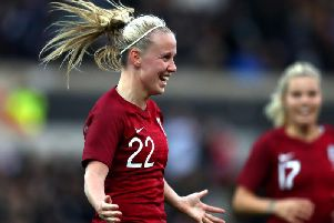 Beth Mead celebrates her goal in England's 2-1 win over Spain on Tuesday night. Picture: Getty Images