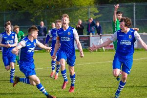 Pontefract Collieries celebrate Jake Picton's goal against Brighouse Town. Picture: James Heaton