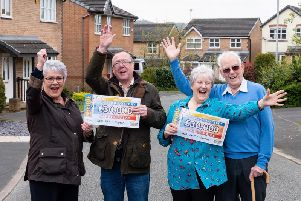 Judith Hodson, Sid Hodson, Patricia Knowles and Eric Knowles with their People's Postcode Lottery winnings