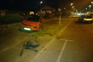 The aftermath of the crash in Highfield Road, South Shore (Picture: Lancashire Road Police)