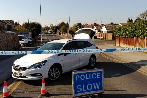 Police at the scene of the crash in Mansfield Woodhouse. Picture: Anne Shelley.