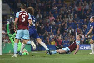 Ashley Barnes scores the equaliser at Stamford Bridge