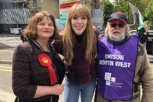 Burnley MP Julie Cooper, Angela Rayner MP and Peter Thorne from UNISON