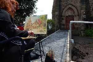 One of the artists at work at last year's Painting in Padiham